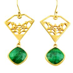 14.70cts natural green emerald 925 silver 14k gold dangle earrings r32850
