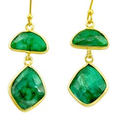 14.59cts natural green emerald 925 silver 14k gold dangle earrings r35239