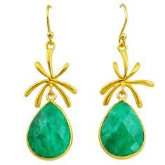 17.90cts natural green emerald 14k gold handmade dangle earrings t11461