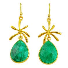 17.11cts natural green emerald 14k gold handmade dangle earrings t11462