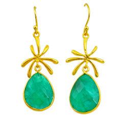 17.96cts natural green emerald 14k gold handmade dangle earrings t11463
