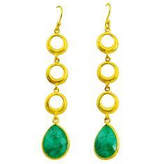 10.73cts natural green emerald 14k gold handmade dangle earrings t11490