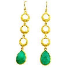 11.19cts natural green emerald 14k gold handmade dangle earrings t11491