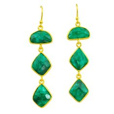 16.68cts natural green emerald 14k gold handmade dangle earrings t11549