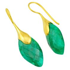 17.75cts natural green emerald 14k gold handmade dangle earrings t11578