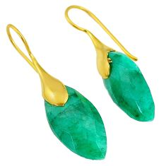21.53cts natural green emerald 14k gold handmade dangle earrings jewelry t11579