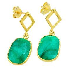 11.20cts natural green emerald 14k gold handmade dangle earrings t11586