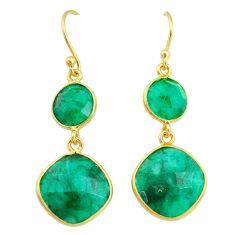 14.91cts natural green emerald 14k gold handmade dangle earrings t11601