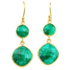 15.43cts natural green emerald 14k gold handmade dangle earrings t11602