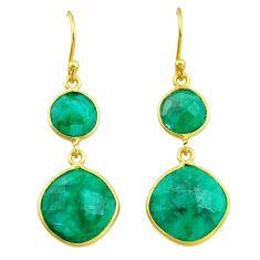 14.91cts natural green emerald 14k gold handmade dangle earrings t11603