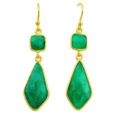 13.69cts natural green emerald 14k gold handmade dangle earrings t11657