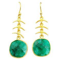 10.72cts natural green emerald 14k gold handmade dangle earrings t11665