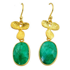 11.23cts natural green emerald 14k gold handmade dangle earrings t11698