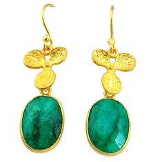 11.03cts natural green emerald 14k gold handmade dangle earrings t11700