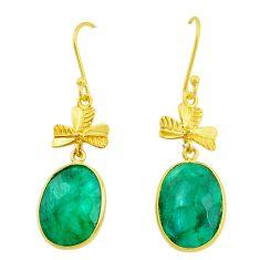 17.53cts natural green emerald handmade14k gold dangle earrings t16420