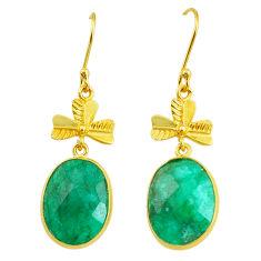 16.41cts natural green emerald handmade14k gold dangle earrings t16460