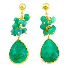 21.69cts natural green emerald handmade14k gold dangle earrings t16596