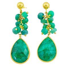 263.20cts natural green emerald handmade14k gold dangle earrings t16597
