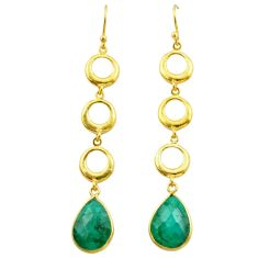 10.43cts natural green emerald 925 silver 14k gold dangle earrings t44125