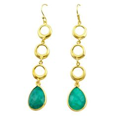12.07cts natural green emerald 925 silver 14k gold dangle earrings t44126