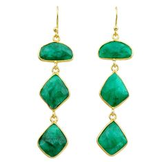 16.88cts natural green emerald 925 silver 14k gold dangle earrings t44145