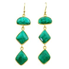 16.35cts natural green emerald 925 silver 14k gold dangle earrings t44148