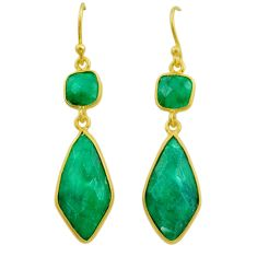 13.13cts natural green emerald 925 silver 14k gold dangle earrings t44202