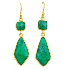 13.47cts natural green emerald 925 silver 14k gold dangle earrings t44203
