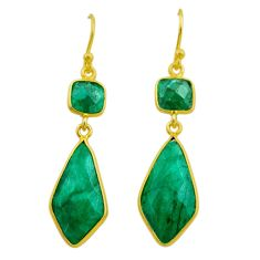 12.94cts natural green emerald 925 silver 14k gold dangle earrings t44229