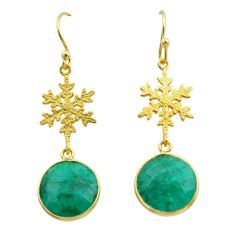 11.73cts natural green emerald 925 silver 14k gold snowflake earrings t44168