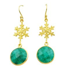 11.23cts natural green emerald 925 silver 14k gold snowflake earrings t44169