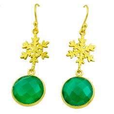 12.22cts natural green emerald 925 silver 14k gold snowflake earrings t44185