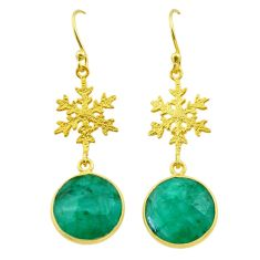 11.73cts natural green emerald 925 silver 14k gold snowflake earrings t44186
