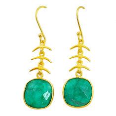11.62cts natural green emerald handmade 14k gold dangle earrings t16440