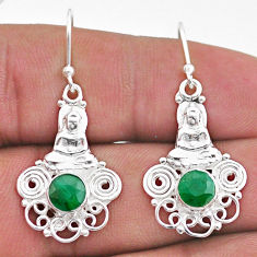 2.32cts natural green emerald 925 sterling silver buddha charm earrings t47049