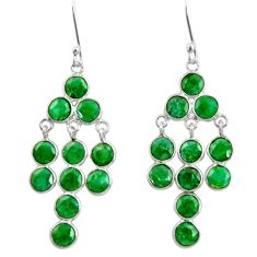 13.70cts natural green emerald 925 sterling silver chandelier earrings d39819