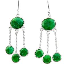 17.53cts natural green emerald 925 sterling silver chandelier earrings d39845