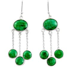 19.29cts natural green emerald 925 sterling silver chandelier earrings d39846