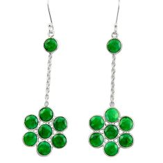 16.49cts natural green emerald 925 sterling silver chandelier earrings d39848