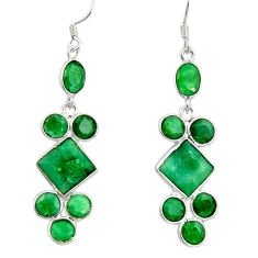 15.93cts natural green emerald 925 sterling silver chandelier earrings d39850