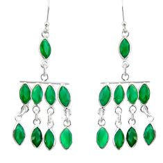 Clearance Sale- 18.73cts natural green emerald 925 sterling silver chandelier earrings d39852