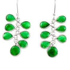15.37cts natural green emerald 925 sterling silver chandelier earrings d39896