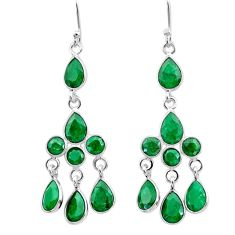 11.64cts natural green emerald 925 sterling silver chandelier earrings t12334