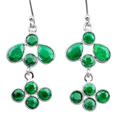 9.65cts natural green emerald 925 sterling silver chandelier earrings t12428