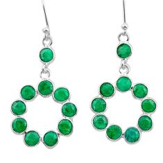 8.70cts natural green emerald 925 sterling silver chandelier earrings t38861