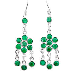 11.73cts natural green emerald 925 sterling silver chandelier earrings t38865
