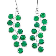 9.72cts natural green emerald 925 sterling silver chandelier earrings t38897