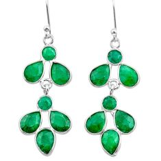 10.89cts natural green emerald 925 sterling silver chandelier earrings t38898