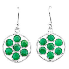 7.18cts natural green emerald 925 sterling silver chandelier earrings t38901