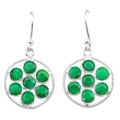 7.08cts natural green emerald 925 sterling silver chandelier earrings t38903
